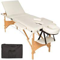 tectake 3 Zonen Massageliege mit Polsterung und Holzgestell - beige