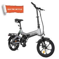 Hitway14F005 E-Bikes mit HeckantriebScooter mit 7,5 Ah Batterie, 16 Zoll, 25 km / h für Jugendliche und Erwachsene Elektro Scooter Kickscooter Cityroller E-Scooter elektrisches Fahrrad schwarz Grau