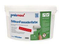 preismaxx Silikonharz Fassadenfarbe, weiß, 10 Liter,  matt, wasserabweisende Aussen-Dispersion, sehr guter Regenschutz