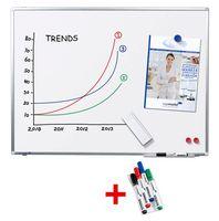 Legamaster Whiteboard PREMIUM PLUS 90,0 cm x 60,0 cm weiß + 4 Boardmarker TZ 100 farbsortiert