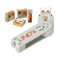 LINDY USB Port Schloss (4 Stück) mit Schlüssel: Code ORANGE 40453