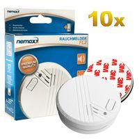 10x Nemaxx FL2 Rauchmelder - hochwertiger Rauchwarnmelder nach EN 14604 mit sensibler fotoelektrischer Technologie + 10x Nemaxx Magnethalterung
