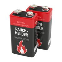 ANSMANN 9V E-Block Alkaline Batterie speziell für Rauchmelder 2er Pack