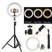 LED Dimmbar Ringleuchte Ringlicht +210cm Handy Stativ für Live YouTube Makeup