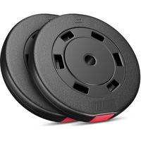 Hop-Sport 20 kg Hantelscheiben Set 2x10 kg Kunststoff Gewichte 30/31mm Hanteln Scheiben