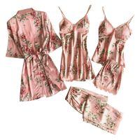 5PC Sexy Spitze Satin Robe Bademantel Hose Shorts Dessous Set Pyjama Nachtwäsche Größe:M,Farbe:Rosa