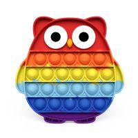 Eule Push Pop Pop Bubble Sensorisches Zappeln Den Druck Besondere Bedürfnisse Stille Antistress Toy Antistress Relief(Regenbogenfarben)