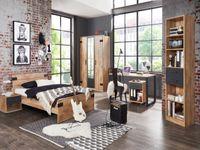 MEGASET zum BESTPREIS Jugendzimmer Liverpool  6 teiliges Komplettset mit Schrank, 140er Bett, Nachttisch, Standregal, Schreibtisch und Rollcontainer