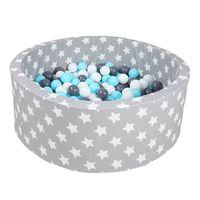 "Knorrtoys Bällebad soft - ""Grey white stars"" - 300 balls creme/grey/lightblue"