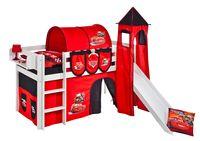 Lilokids Spielbett JELLE Disney Cars - Hochbett - weiß - mit Turm, Rutsche und Vorhang - Maße: 113 cm x 208 cm x 98 cm; JELLE3054KWTR-CARS
