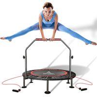 arteesol ∅101cm Trampolin Indoor&outdoor Klappbar Fitness Minitrampoline Mit Haltestange, bis zu 90kg, für Sport Jumping