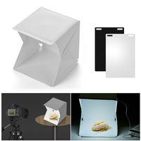 Tragbare DIY LED Studio Lichtbox 6000K Mini Faltbare Fotografie Zelt mit schwarz weißen Hintergründen USB-Netzteil für Schmuck Uhr Kleine Produkte Stillleben Fotografie