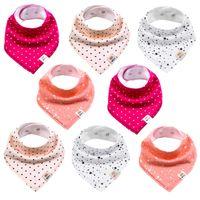 Baby Dreieckstücher 8 Stück Halstuch aus Baumwolle mit verstellbaren Druckknöpfen Lätzchen für Kleinkinder Mädchen