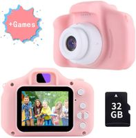 Kinderkamera mit Spiele ab 3 Jahre   Bestseller 2019 Kinderkamera Pink Mädchen 4 5 6 Jahre   12MP 1080P Farbdisplay & 32GB SD Karte   Fotoapparat Digitalkamera Rosa   Baby Geschenk 7 8 Jahre.