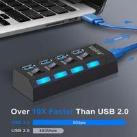 4 Port Verteiler USB 2.0 Hub Splitter Adapter mit Netzteil Power Schalter für PC