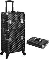 SONGMICS schwarz Schminkkoffer mit Tragebox für Nageldesign 75 x 36 x 23 cm Make-up Koffer Kosmetikkoffer Trolley Make-up Organizer JHZ04B