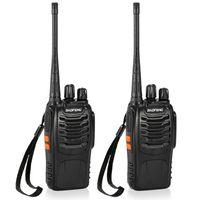 Funkgeräte BaoFeng® 2PCS 16CH FM UHF 400-470MHz Talkie Walkie Transceiver 2-Wege-Funk-tragbare Handheld-Interphone lange Distanz 1500mah Akku Taschenlampe