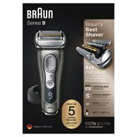 Braun Series 9 9325s + Elektrischer Rasierer mit 20% längerer Akku-Laufzeit, Ladestation, Wet&Dry Elektrorasierer Herren, Präzisionstrimmer, grafit