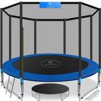 KESSER® - Trampolin  | SÜD GS  | Komplettset mit Sicherheitsnetz, Leiter,  Randabdeckung & Zubehör | Kindertrampolin Gartentrampolin Belastbarkeit 150 kg, Farbe:Blau, Größe:305 cm