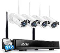 ZOSI CCTV Funk Überwachungsset 8CH 1080P HD Wireless NVR mit 1TB Festplatte und 4x 1080P Außen Kamera