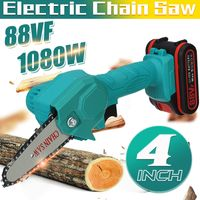 MECO Elektrokettensäge Akku-handkettensäge mit Ladegerät und 1 Batterie, Elektrische Schnittsäge Einstellbarer Schnittgeschwindigkeit, für Holz und Metallschneiden (Blau)