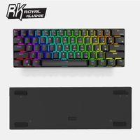Royal Kludge RK61 Bluetooth Wired Dual Mode 60% RGB Mechanische Spieletastatur - Schwarz Rot Schalter