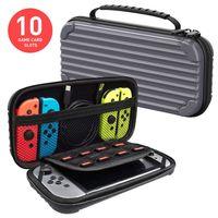 Tasche für Nintendo Switch, Lammcou Tragbare Reisetasche Schutzhülle für Nintendo Switch mit größerem Speicherplatz und 10 Spielkarten Grau