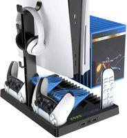 Vertikaler Ständer Ladestation für PS5, multifunktionale Aufbewahrung Halterung mit 2 Kühllüfter für PS5 Konsole, PS5 Controller und anderes PS5 Zubehör