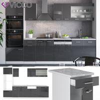 Vicco Küche R-Line 300Cm Küchenzeile Küchenblock Einbauküche Anthrazit Hochglanz