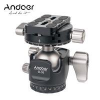 Andoer D-35 Low Profile Doppelpanoramakopf CNC-Bearbeitung Aluminiumlegierung Kugelkopf Stativkopf Kompatibel mit Canon Nikon Sony DSLR max. Laden Sie 8 kg