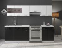 Küche Omega 240 cm Küchenzeile Küchenblock variabel stellbar in Schwarz Weiss