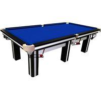 Snookertisch 8ft - 244x132cm - BuckShot Billardtisch Cambridge Schwarz/Weiß - Blaues Tuch 8 fuß - 36 mm Schieferplatte - 450KG