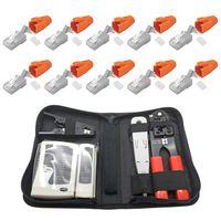 ARLI Netzwerk Werkzeugset + 10x RJ45 Netzwerkstecker mit Zugentlastung, Einführhilfe und Knickschutz