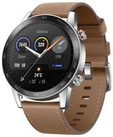 HONOR MagicWatch 2 46-mm-Smartwatch, Fitness-Aktivitäts-Tracker mit Herzfrequenz- und Stressmonitor, Trainingsmodi, Lauf-App und integriertem Lautsprecher und Mikrofon, braunes Armband