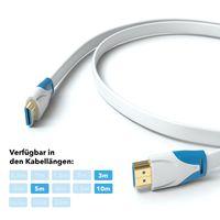 JAMEGA 10m HDMI 2.0 Kabel Flach Weiß | kompatibel mit HDMI 2.0a/b, 2.0, 1.4a | Unterstützt Ultra HD, 4K, 3D, Full HD, 1080p, HDR, ARC, Highspeed mit Ethernet