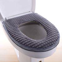 einfache Installation und Reinigung Warmer Toilettensitzbezug mit Rei/ßverschluss K/ätzchen-Stickmuster bequemes Winter-WC-Kissen