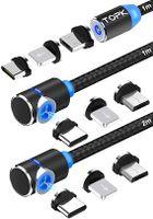 TOPK Magnetisches USB Kabel [3Stück] 3in1 Ladekabel mit LED Blitz Micro USB Typ C Nylon Braided Kabel Kompatibel mit Android Smartphone und i-Produkt