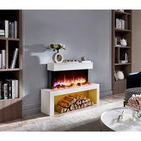 RICHEN Elektrokamin Kiana mit Glasplatte - Elektrischer Standkamin Mit Heizung, LED-Beleuchtung, 3D-Flammeneffekt & Fernbedienung - Elektrischer Kamin Weiß