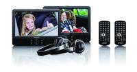 Lenco DVD-Player DVP-939 22,5cm (9 Zoll), 2x Bildschirm, 2x Kopfhörer, USB, SD/MMC, Farbe: Schwarz
