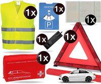 8 in 1 Sicherheitsset 2020 Auto KFZ Warnweste, Warndreieck, Verbandskasten, Parkscheibe, Etui- Pannenset, Rettungsdecke - Erste Hilfe bei Unfall
