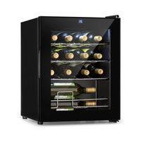 Klarstein Shiraz Weinkühlschrank , Volumen: 42 Liter , Temperaturen: 5-18 °C , Platz für 16 Flaschen Wein , Energieeffiezienz , Soft-Touch-Bedienfeld , 3 Regaleinschübe , LED-Innenbeleuchtung , freistehend , schwarz