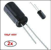 2x Kondensator 100µF 400V Radial 16x36mm 7mm Alum Elko Nichicon #724977