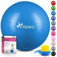TRESKO Gymnastikball (Blau, 65cm) mit Pumpe Fitnessball Yogaball Sitzball Sportball Pilates Ball Sportball