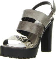 BULLBOXER Damen Knöchelriemchen Sandalen Schlangenoptik mehrfarbig, Größe:41, Farbe:Mehrfarbig