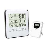 Wetterstation Funk mit Außensensor, Digital Thermometer Hygrometer für Innen und Außen, Hintergrundbeleuchtung mit Uhrzeit