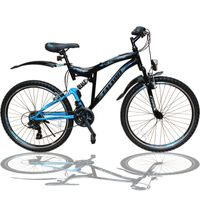 26 Zoll Mountainbike SHIMANO 21-Gang Fahrrad mit Vollfederung & Beleuchtung OXT-Blue
