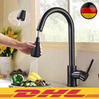 BESTTOWE 360° Drehung Ausziehbar Küchenarmatur Wasserhahn Spültisch Mischbatterie Schwarz