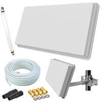 Selfsat H30D1+ Flachantenne Single + 10m Kabel + Fensterhalterung + 1 Fensterdurchführung + 4 F-Stecker + 2 Wetterschutztüllen (Full HD 4K UHD Sat Anlage für 1 Teilnehmer)