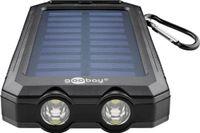 Goobay Outdoor Solar Powerbank 8.0 - 8.000 mAh - mit Solarpanel und Taschenlampenfunktion, Karabiner und eingebauter Kompass