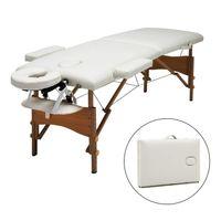 Mobile Massageliege klappbare Therapieliege tragbares Massagebett leichter Massagetisch 2 Zonen  Holzfüße - Weiß - Meerveil